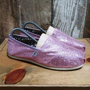 Toms Pink Sequin Slip On Women's Size 10